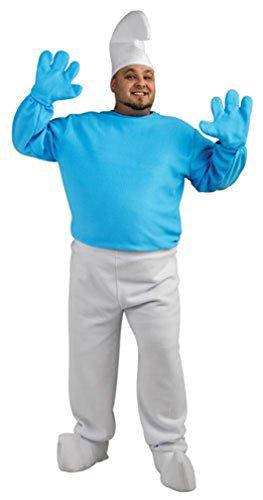 Adult Smurf Costume, Blue/White, Plus (Smurf Halloween Costume)