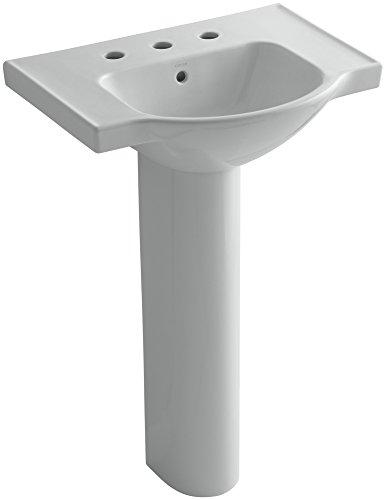 eer Pedestal Bathroom Sink with 8-Inch Widespread Faucet Holes, 24-Inch, Ice Grey ()