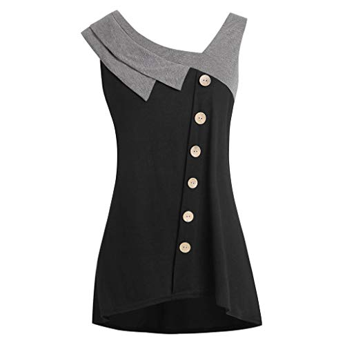 Shusuen Plus Size Tees Tops Women Fashion 2019 Asymmetric Tank Tops Sleeveless Button T-Shirt Pullover Nero ()
