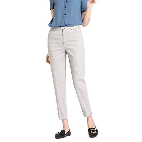 Coreana Solido Tagliati Di A Matita Convenzionali Alta Moda Della Casuali Dei Estate Grau Vita Eleganti Colore Alla Giovane Pantaloni 7vXwqw