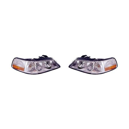 (Fits Lincoln Town Car 2003-2004 Headlight Assembly Pair Driver and Passenger Side)