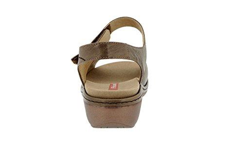 Calzado mujer confort de piel Piesanto 6801 sandalia plantilla extraíble zapato cómodo ancho Taupe