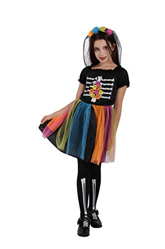 Girls Skeleton Costume Kids Halloween Zombie Bride Fancy Dress Cosplay-Rainbow(4-6 Year)]()