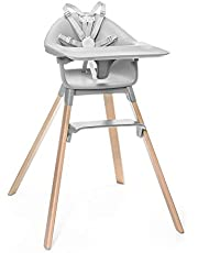 Stokke Clikk High Chair, Cloud Grey - All-in-One High Chair with Tray + Harness - Light, Durable & Travel Friendly - Ergonomic with Adjustable Features - Best for 6-36 Months or Up to 33 lbs