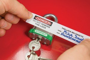 Accuform LAK153 Lockout Padlocks PADLOCK OVER-LAMINATE LABEL-CHOOSE DANGER MESSAGE Message: Do Not Remove This Lock 50PK