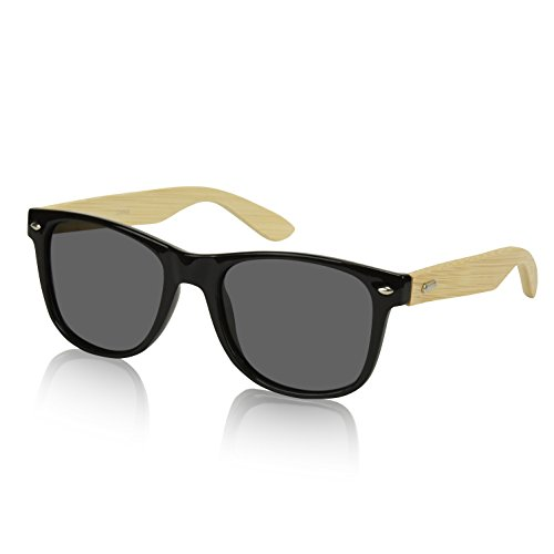 Bamboo Black Mirror - Bamboo Sunglasses Black Mirrored Reflective Mirror Lens Polarized Lenses Smoke