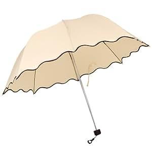Wuiyepo Fashion Lady Flouncing Dome Parasol Sun/Rain Girls Lotus Leaves Wave Folding Umbrella (Beige)