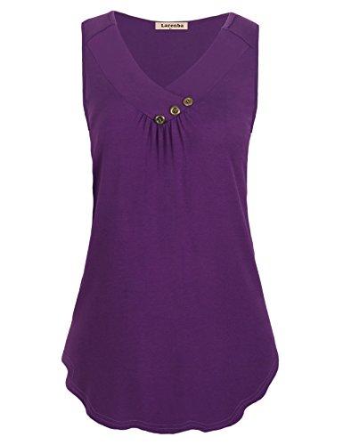 Larenba Flowy Tank Shirt, Womens Business Casual Clothes V Neck Pleat Sleeveless Tunic Dress Buttons Decorative Drape Tops(Violet,XX-Large)