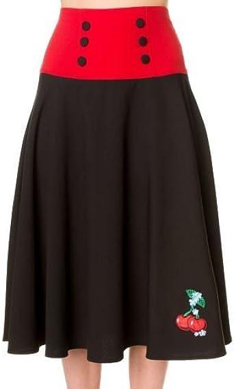 Prohibido de vestir negro rojo Cherry falda larga Negro negro ...
