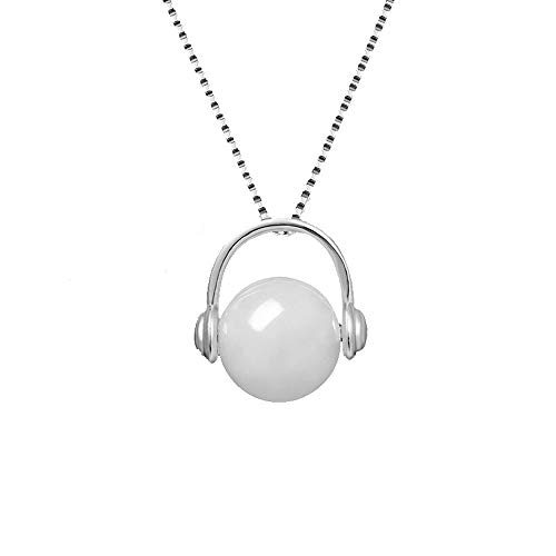 LXIANGP Necklace for Women,S925 Silver Inlaid White Jade Fashion Earphone Shape Pendant Female Gift Box Packaging Chain Length About 50cm