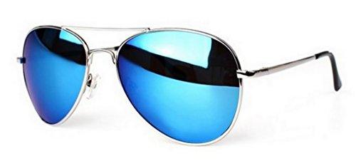 PURECITY© - Lunettes de soleil Aviateur - Pilote - Fbi - Monture Métal - Mixte - Fashion tendance miroir bleu