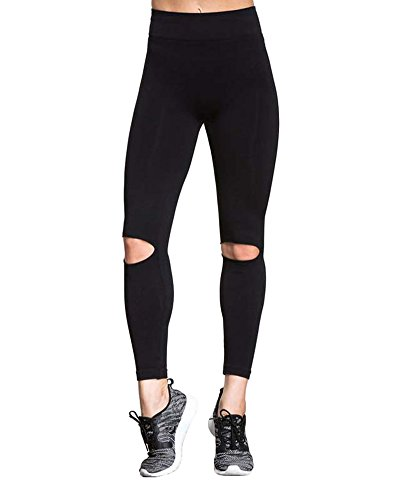 Romacci Women's Knee Slit Ripped Leggings High Waisted Skinny Yoga Workout Pants Active Tights Black]()