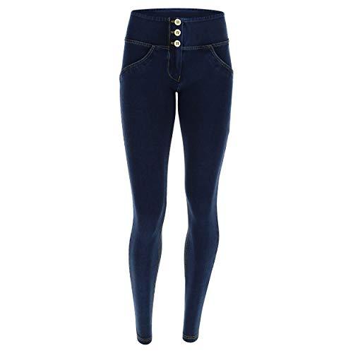 up A In Skinny Lunghezza Elasticizzato Denim Media Jeans Vita Pantalone Scuro Regular cuciture Gialle Freddy Wr SqHxpEIw