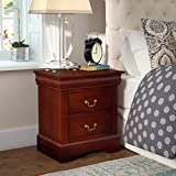 2 Drawer Nightstand Bottom Metal Rails in Cherry Color Bedroom Furniture