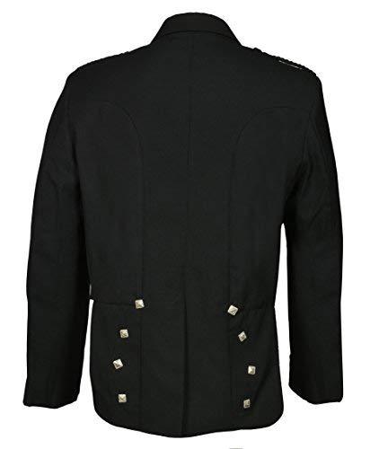 Men's Scottish Black Prince Charlie Kilt Jacket & Vest (Chest Size 42 Regular)