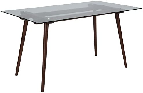 Flash Furniture Meriden 31.5 x 55 Rectangular Solid Walnut Wood Table with Clear Glass Top
