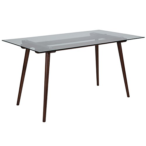 Dining Glass Brown Table (Flash Furniture Meriden 31.5'' x 55'' Solid Walnut Wood Table with Clear Glass Top)