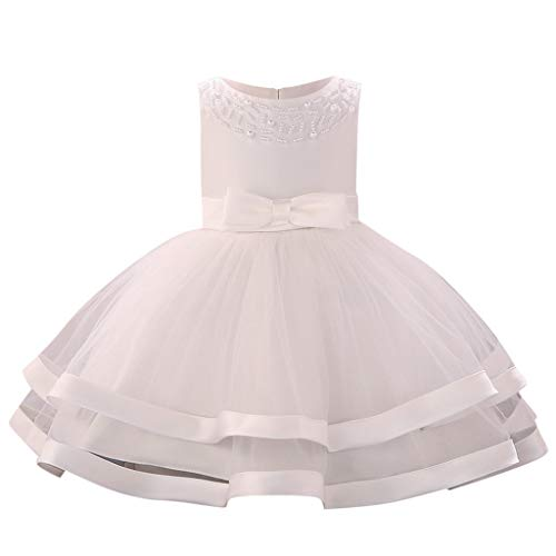 Princess Monogram Dress - Sunhusing Baby Sleeveless O-Neck Pearl Decor Bow High Waist Double-Tulle Gown Princess Tutu Dress