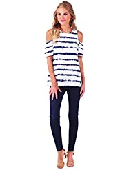 Mud Pie Womens Lawson Cold Shoulder Summer Top, Navy Vibes