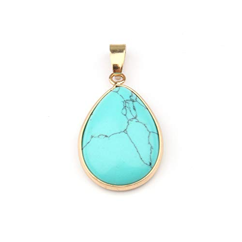 (Natural Stone Pendant | Water Drop Shape Pendants | Agates/Rosequartz/Tiger Eye Charms for Necklaces | Jewelry Making 3.52.40.7cm)