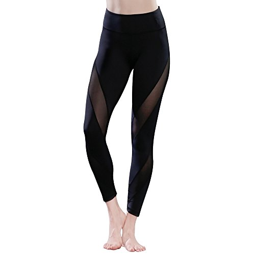 favobodinn Yoga Pants Mesh Workout Leggings For Women With Pockets Black Active Capri Gym Fitness Stretchy Tight Tummy Control Non See-Through Fabric Run Compression Mesh Inset Pants (Black, Large)