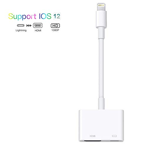 Compatible with iPhone iPad to HDMI Adapter Cable,RUMINER 2 in 1 Plug and Play Digital AV Adapter 1080p HD TV Connector Cord Compatible with iPhone Xs Max XR 8 7 6Plus to TV Projector Monitor(White) (Adapter Lightning Apple Av)