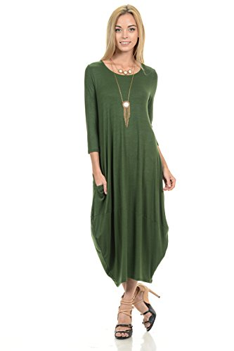 Pastel by Vivienne Women's Cocoon Midi Dress Large Olive