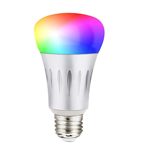 Wi-Fi Smart Light Bulbs 7W RGBW Dimmable Color Changing Light Bulb Smartphone App Controlled Lights A19 60W Equivalent E26 Medium Base LED Light Bulbs Work with Alexa Google Home No Hub Required