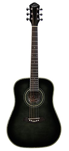 Oscar Schmidt OG1 3/4-Size Dreadnought Acoustic Guitar - Flame Trans Black