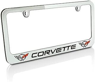 product image for Corvette C5 2 Logos Chrome Metal Auto License Plate Frame