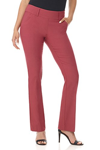 Rekucci Women's Ease in to Comfort Fit Classic Bootcut Pant w/Tummy Control (6,Desert Rose)