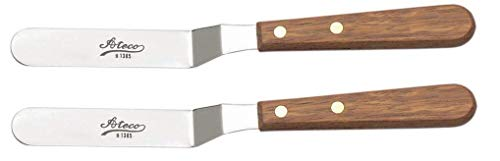 Ateco 1385 Spatula Icing Frosting Spreader Decorating Tool - Wood Handle, 2-Pack