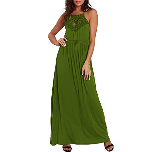 Tantisy ♣↭♣ Women's Summer Casual Loose Lace Stitching Dress Beach Long Cami Maxi Dresses with Pocket Green