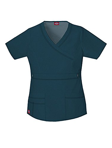 Dickies Scrubs Women's Gen Flex Junior Fit Contrast Stitch Mock Wrap Shirt, Caribbean, Medium
