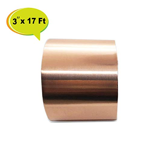 Copper Foil Tape with Conductive Adhesive (3 Inch x 17FT) for Guitar and EMI Shielding, Paper Circuits, Stained Glass, Slug Repellent, Electrical Repairs, Grounding ()