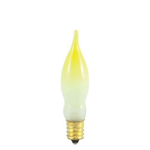 Price comparison product image 25 Pack 7.5 Watt CA5 Candelabra Base 130 Volt 2500 Hour Frost Yellow Tip Flam...