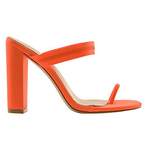 OLCHEE Women's Fashion Strappy High Heel Mules Sandals - Pointy Open Toe Slipper Toe Ring - Block Heels Orange Size 10