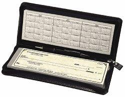 EGP Zippered Portfolio for Traveller Checks, Size: 9 3/4 x 4, - Executive Checkbook Cover Leather
