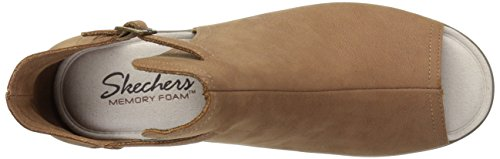 Qtr Cutter Women's Toe Peep Tan Cut Wedge Sandal Skechers Cookie Parallel wxg4qU4Y