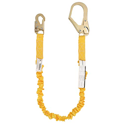 WELKFORDER Single Leg 6-Foot Fall Protection Internal Shock Absorbing Stretchable Safety Lanyard with Snap & Rebar Hook Connectors ANSI Complaint - Fall Protection Lanyards