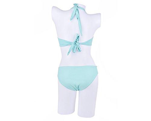 DSstyles color de la cáscara verde del diseño del sujetador de la sirena cabestro bikini Set Como mujeres traje de baño traje de baño de la playa - Medium