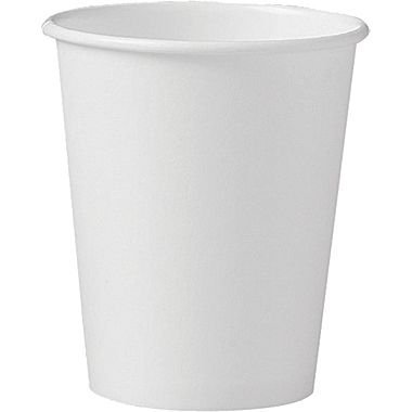 SOLO 370W-2050 Single-Sided Poly Paper Hot Cup, 10 oz. Capacity, White (Pack of 100)