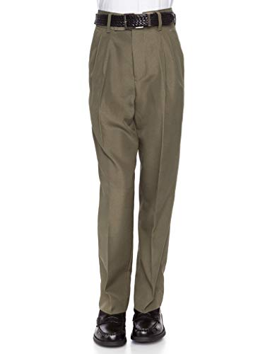 RGM 100% Dacron, Pleated Front, Boys Dress Slacks Olive - Pleated Pants Dress Boys