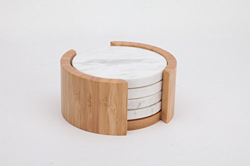 (Marble Coasters with Holder, White Marble Coaster Set of 4 with Bamboo Holder (Round))