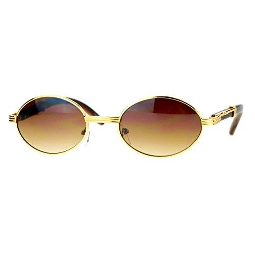 Unisex Vintage Designer Fashion Sunglasses Oval Frame UV Protection Yellow Gold