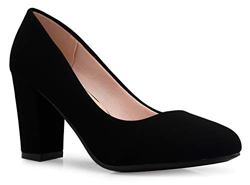 OLIVIA K Women's Classic Round-Toe Platform Pumps High Block Heel - Adorable, Comfortable]()
