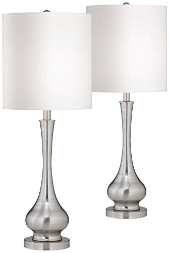 Modern Table Lamps Set of 2 Brushed Steel Tall Gourd White Drum Shade for Living Room Family Bedroom Bedside - Possini Euro Design ()