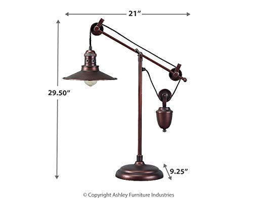 Ashley Furniture Signature Design - Kylen Desk Lamp with Metal Shade with in-Line Switch - Industrial - Bronze Finish by Signature Design by Ashley (Image #7)