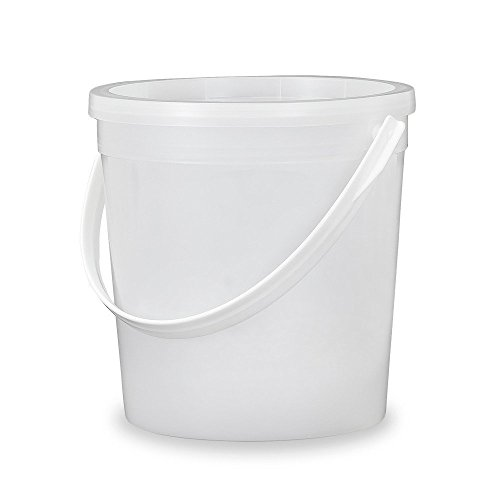 Gallon (32 oz.) Food Grade - Food Safe Round Plastic Bucket with Lid - Translucent - Recessed Lid - 5 Pack