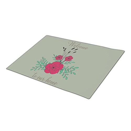 GB Plan Decorative Door Mats Welcome to our home hand drawn red green flowers Indoor Floor Mats - Hand Drawn Plans